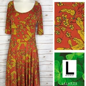 L Nicole dark orange/mustard yellow floral dress